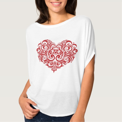 Ornate Valentines Day Heart Women's Bella+Canvas Flowy Circle Top