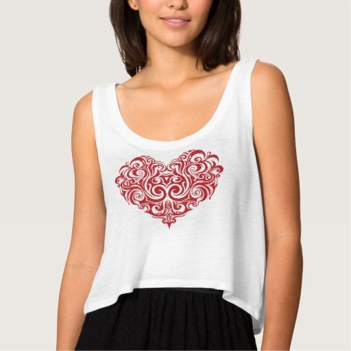 Ornate Valentines Day Heart Women's Bella+Canvas Flowy Crop Tank Top