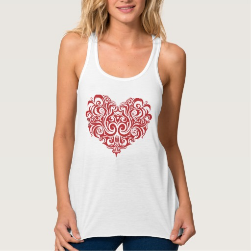 Ornate Valentines Day Heart Women's Bella+Canvas Flowy Racerback Tank Top