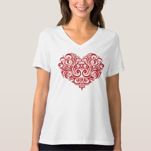 Ornate Valentines Day Heart Women's Bella+Canvas Relaxed Fit V-Neck T-Shirt