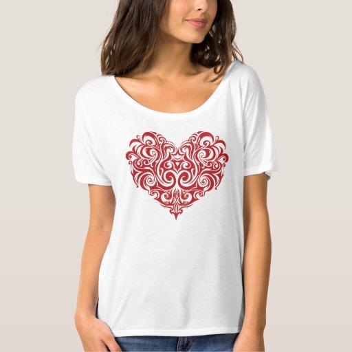 Ornate Valentines Day Heart Women's Bella+Canvas Slouchy Boyfriend T-Shirt
