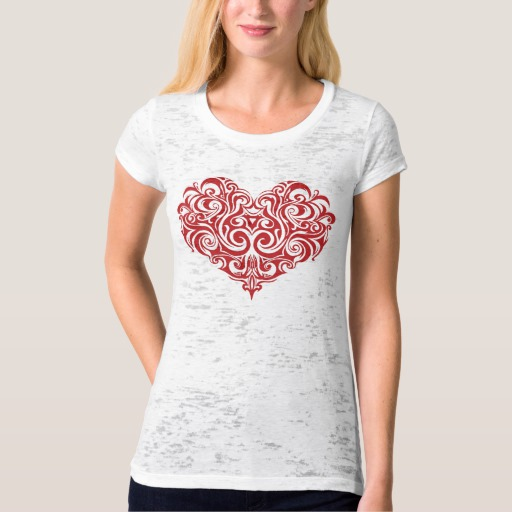 Ornate Valentines Day Heart Women's Canvas Fitted Burnout T-Shirt