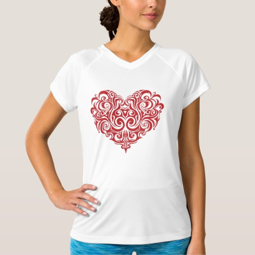 Ornate Valentines Day Heart Women's Champion Double-Dry V-Neck T-Shirt