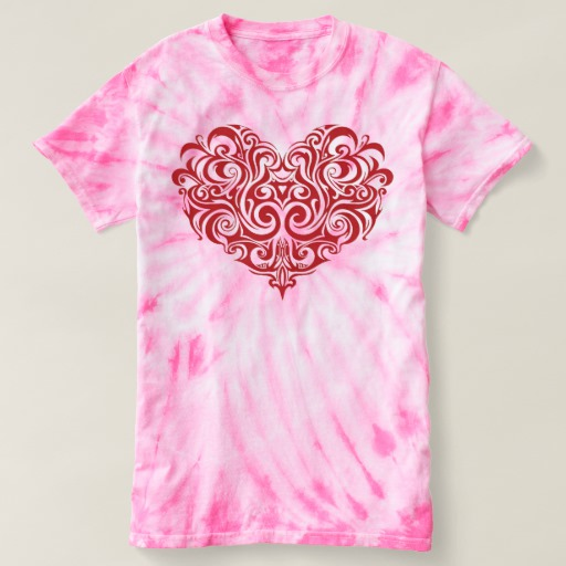 Ornate Valentines Day Heart Women's Cyclone Tie-Dye T-Shirt