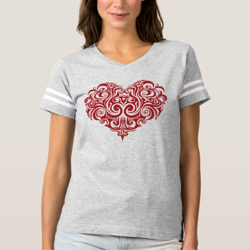 Ornate Valentines Day Heart Women's Football T-Shirt