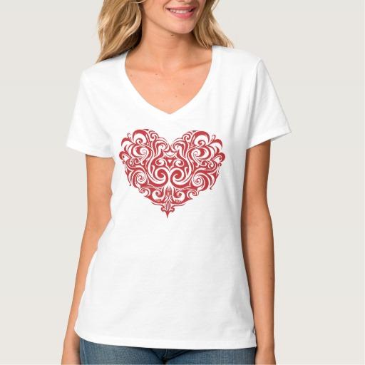 Ornate Valentines Day Heart Women's Hanes Nano V-Neck T-Shirt