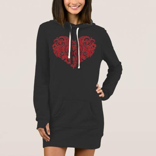 Ornate Valentines Day Heart Women's Hoodie Dress
