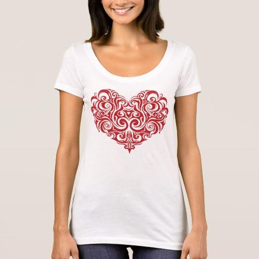Ornate Valentines Day Heart Women's Next Level Scoop Neck T-Shirt