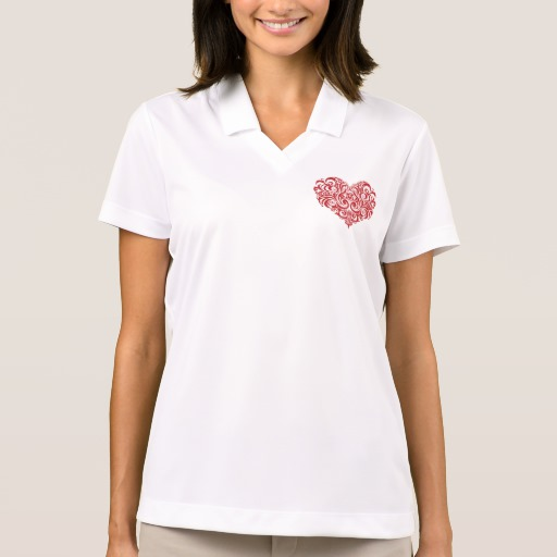 Ornate Valentines Day Heart Women's Nike Dri-FIT Pique Polo Shirt
