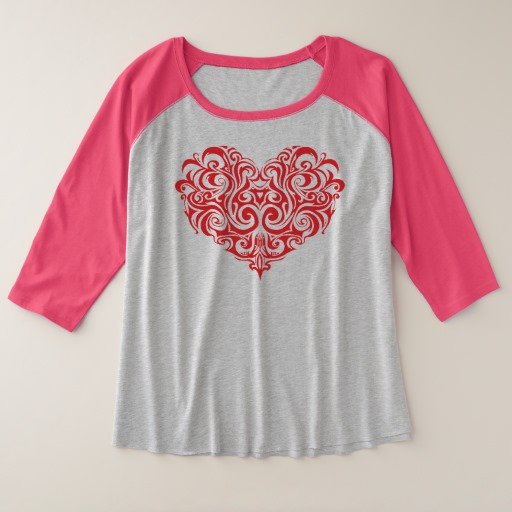 Ornate Valentines Day Heart Women's Plus-Size 3/4 Sleeve Raglan T-Shirt