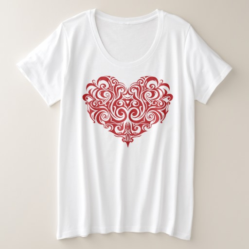 Ornate Valentines Day Heart Women's Plus-Size Basic T-Shirt