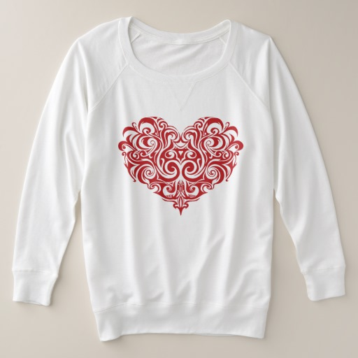 Ornate Valentines Day Heart Women's Plus-Size French Terry Sweatshirt