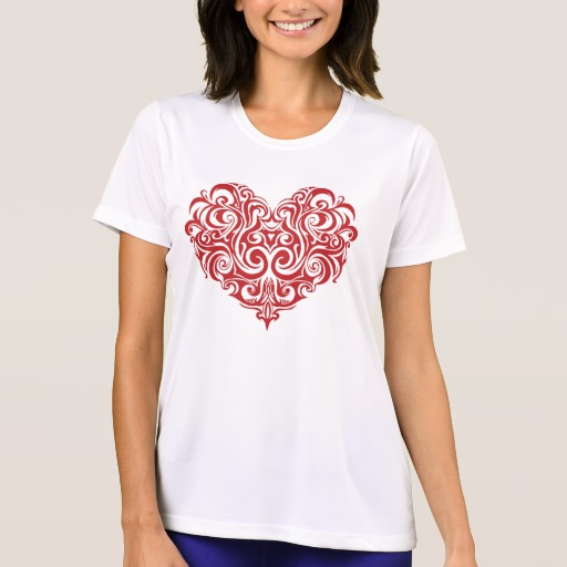Ornate Valentines Day Heart Women's Sport-Tek Competitor T-Shirt