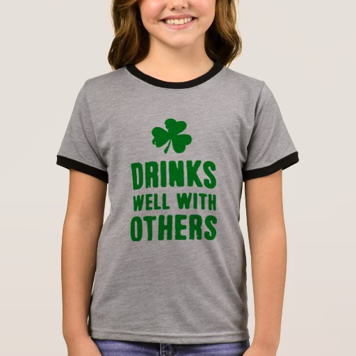 Drinks Well With Others Girl's Ringer T-Shirt