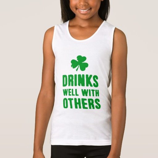 Drinks Well With Others Girls' Fine Jersey Tank Top
