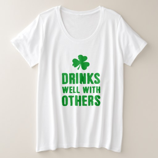 Drinks Well With Others Women's Plus-Size Basic T-Shirt