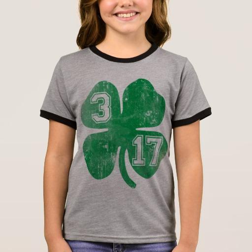 Shamrock 3-17 Girl's Ringer T-Shirt