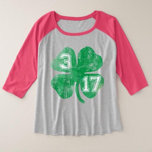 Shamrock 3-17 Women's Plus-Size 3/4 Sleeve Raglan T-Shirt