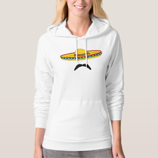Mustache and Sombrero American Apparel California Fleece Pullover Hoodie