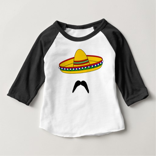 Mustache and Sombrero Baby American Apparel 3/4 Sleeve Raglan T-Shirt