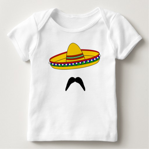 Mustache and Sombrero Baby American Apparel Lap T-Shirt