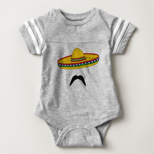 Mustache and Sombrero Baby Football Bodysuit