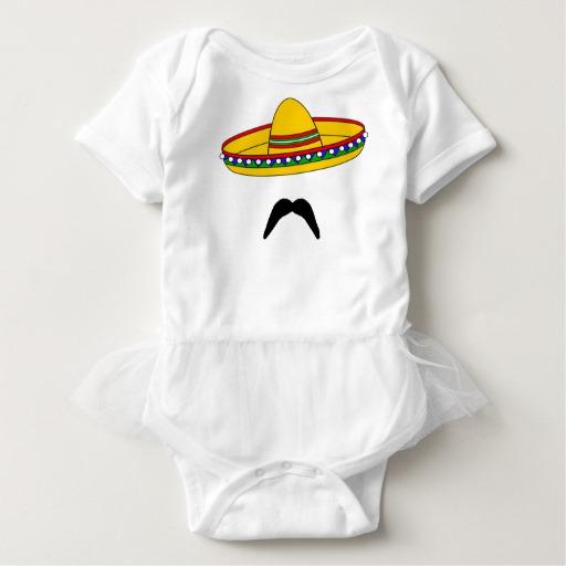 Mustache and Sombrero Baby Tutu Bodysuit