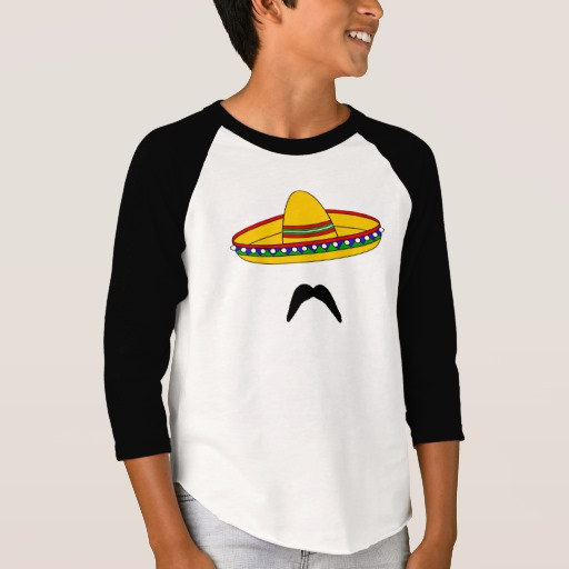 Mustache and Sombrero Boys' American Apparel 3/4 Sleeve Raglan T-Shirt