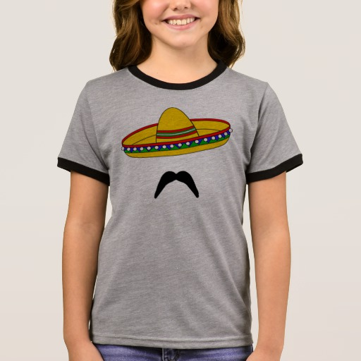 Mustache and Sombrero Girl's Ringer T-Shirt