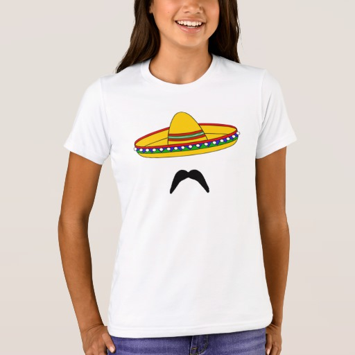 Mustache and Sombrero Girls' Bella+Canvas Crew T-Shirt