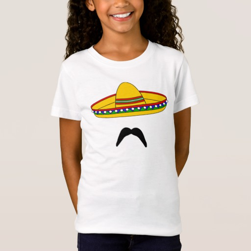 Mustache and Sombrero Girls' Fine Jersey T-Shirt