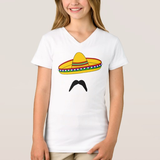 Mustache and Sombrero Girls' Fine Jersey V-Neck T-Shirt