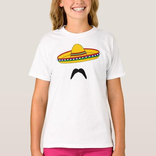 Mustache and Sombrero Girls' Hanes TAGLESS® T-Shirt