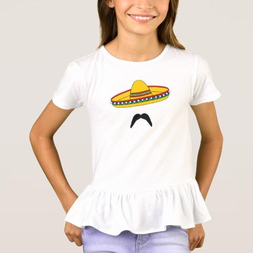 Mustache and Sombrero Girls' Ruffle T-Shirt