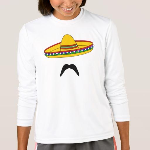 Mustache and Sombrero Girls' Sport-Tek Competitor Long Sleeve T-Shirt