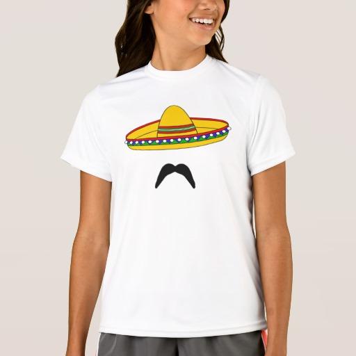 Mustache and Sombrero Girls' Sport-Tek Competitor T-Shirt