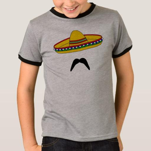 Mustache and Sombrero Kids' Basic Ringer T-Shirt