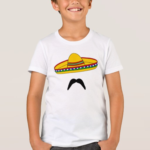 Mustache and Sombrero Kids' Bella+Canvas Crew T-Shirt