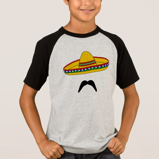 Mustache and Sombrero Kids' Short Sleeve Raglan T-Shirt