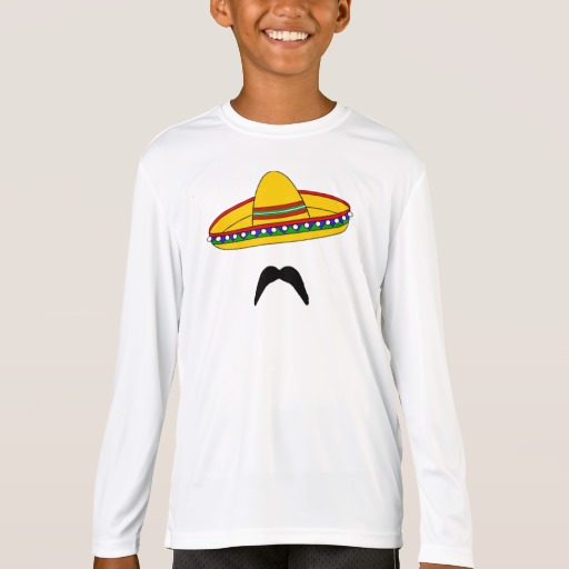 Mustache and Sombrero Kids' Sport-Tek Competitor Long Sleeve T-Shirt