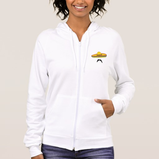 Mustache and Sombrero Men's American Apparel California Fleece Zip Hoodie