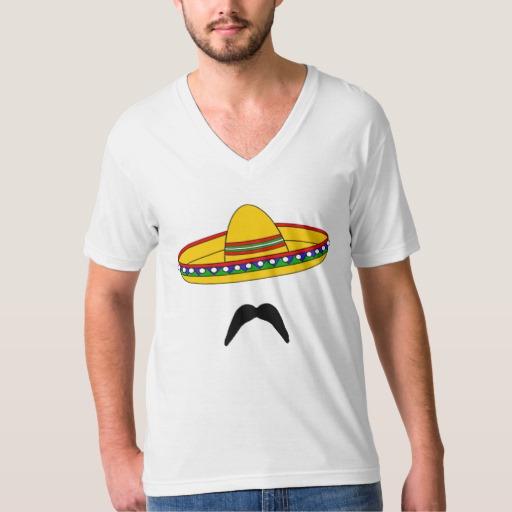 Mustache and Sombrero Men's American Apparel Fine Jersey V-neck T-Shirt