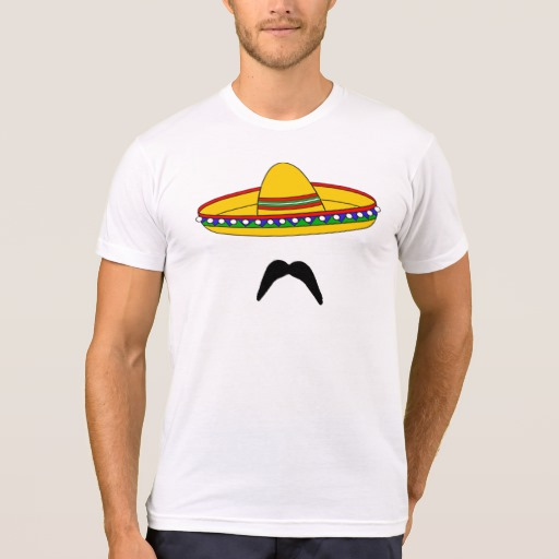 Mustache and Sombrero Men's American Apparel Poly-Cotton Blend T-Shirt