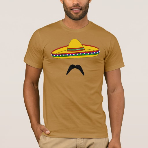Mustache and Sombrero Men's Basic American Apparel T-Shirt