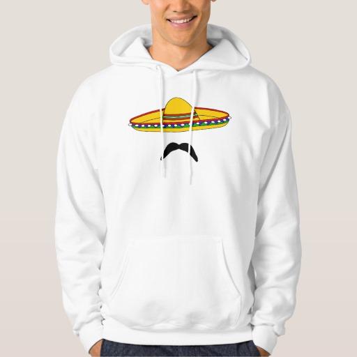 Mustache and Sombrero Men's Basic Hooded Sweatshirt