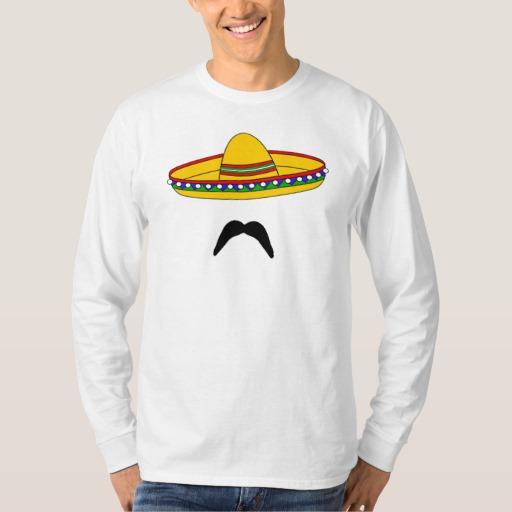 Mustache and Sombrero Men's Basic Long Sleeve T-Shirt