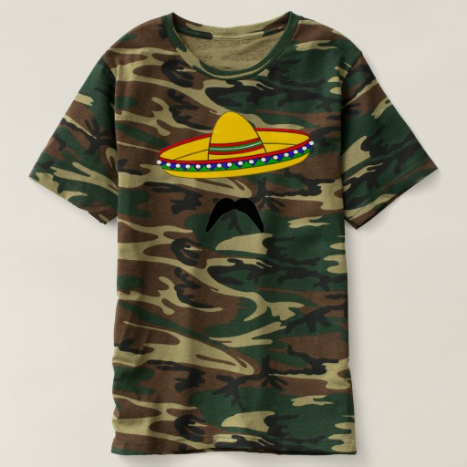 Mustache and Sombrero Men's Camouflage T-Shirt
