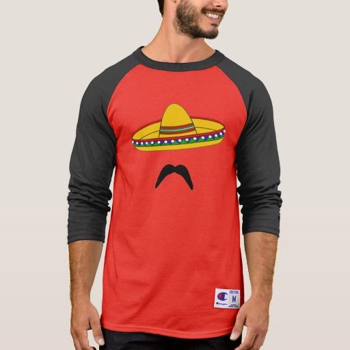 Mustache and Sombrero Men's Champion 3/4 Sleeve Raglan T-Shirt