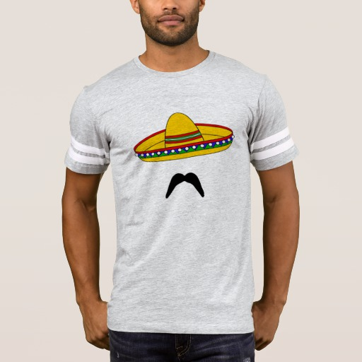 Mustache and Sombrero Men's Football T-Shirt
