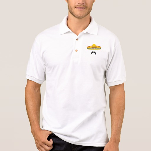 Mustache and Sombrero Men's Gildan Jersey Polo Shirt